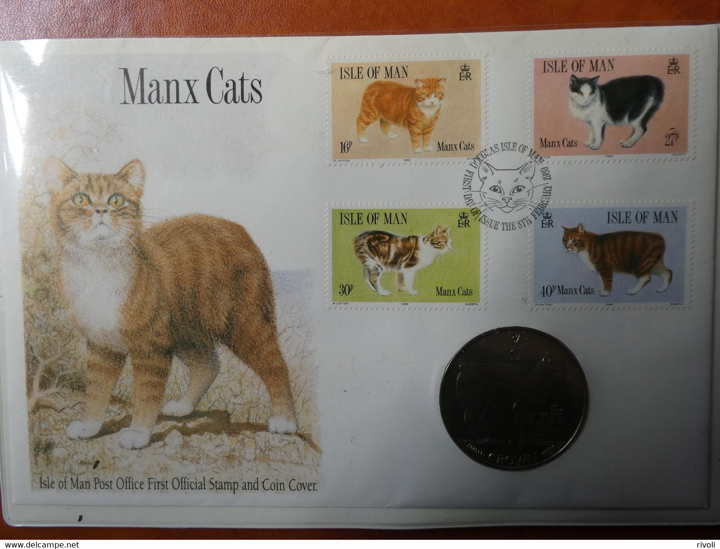 ISLE OF MAN 1989 N° YVERT393/96 , Chats-Manx Cats. Coin Cover-FDC +monnaie - Gatti