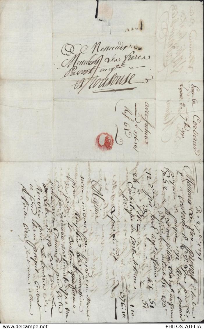 Echantillons De Tissus MP Marque Postale Linéaire DE LYON Lenain N°19 29 X 4,5 Facture 2 9 1791 Taxe Manuscrite 9 - 1701-1800: Precursors XVIII