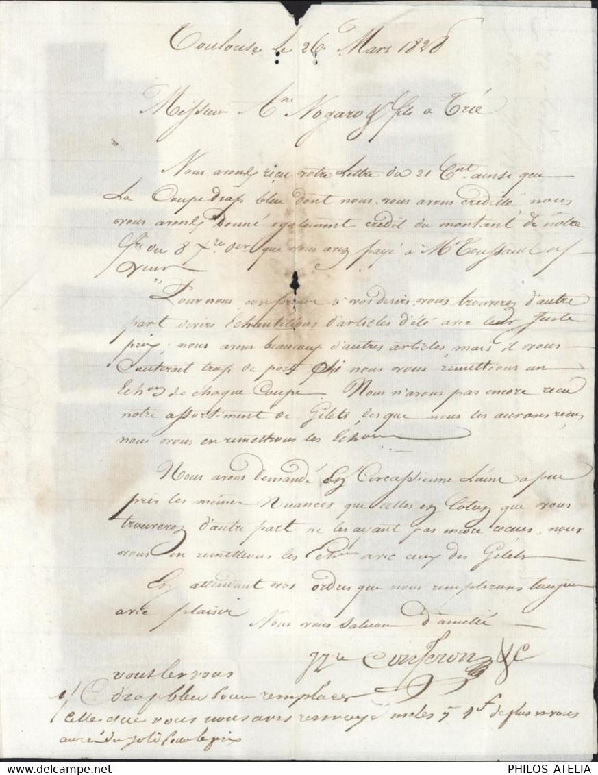 Echantillons De Tissus Marque Postale 30 Toulouse 32X10 Dateur 26 Mars 1828 Taxe Manuscrite 6 Pour Tarbes - 1801-1848: Precursors XIX