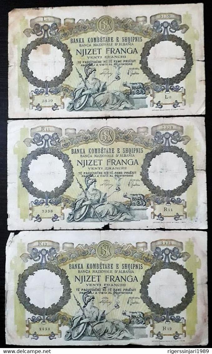 Albania 20 Franga 1939 Italian Occupation - Lot Of 3 Pieces - Albania
