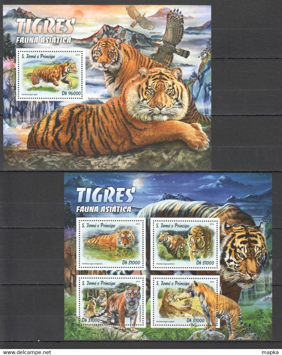 XX399 LAST ONE IN STOCK 2016 S. TOME E PRINCIPE ASIAN FAUNA ANIMALS WILD CATS TIGERS 1KB+1BL MNH - Felinos
