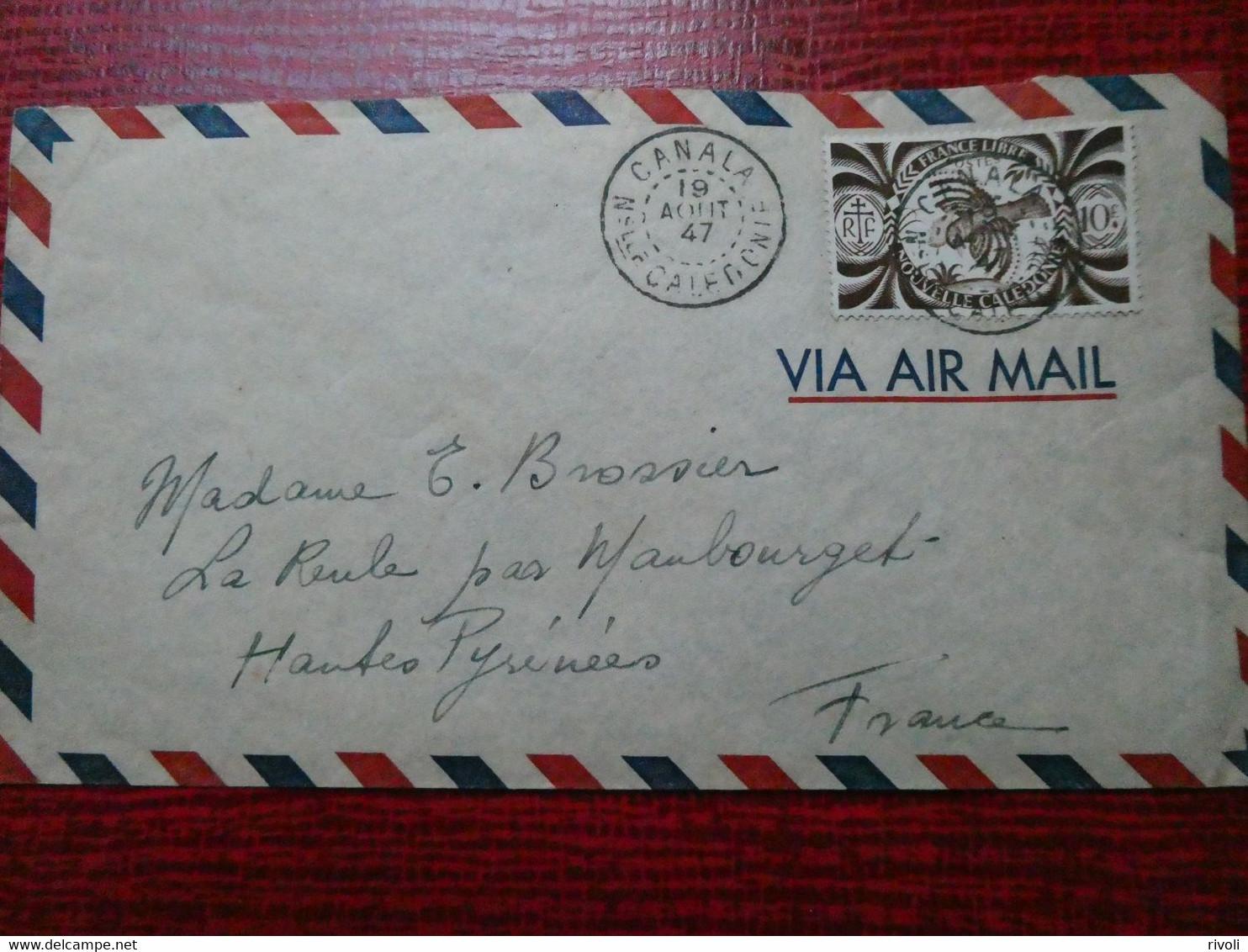 NOUVELLE CALEDONIE 19 AOUT 1947 LETTRE CANALA - NOUMEA - Storia Postale