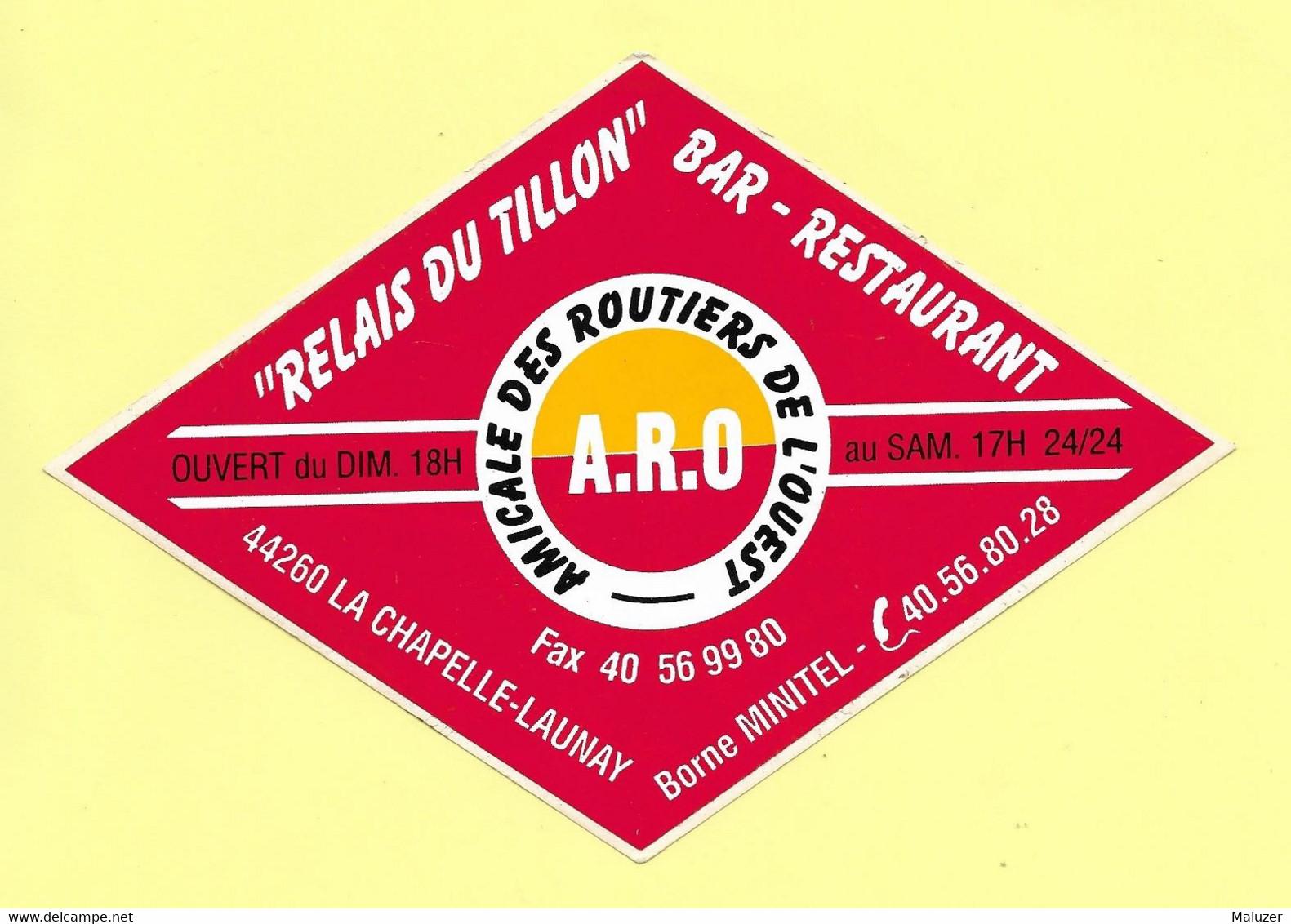 AUTOCOLLANT - RELAIS DU TILLON - BAR RESTAURANT 44260 LA CHAPELLE-LAUNAY - AMICALE ROUTIERS DE L'OUEST - BORNE MINITEL - Stickers