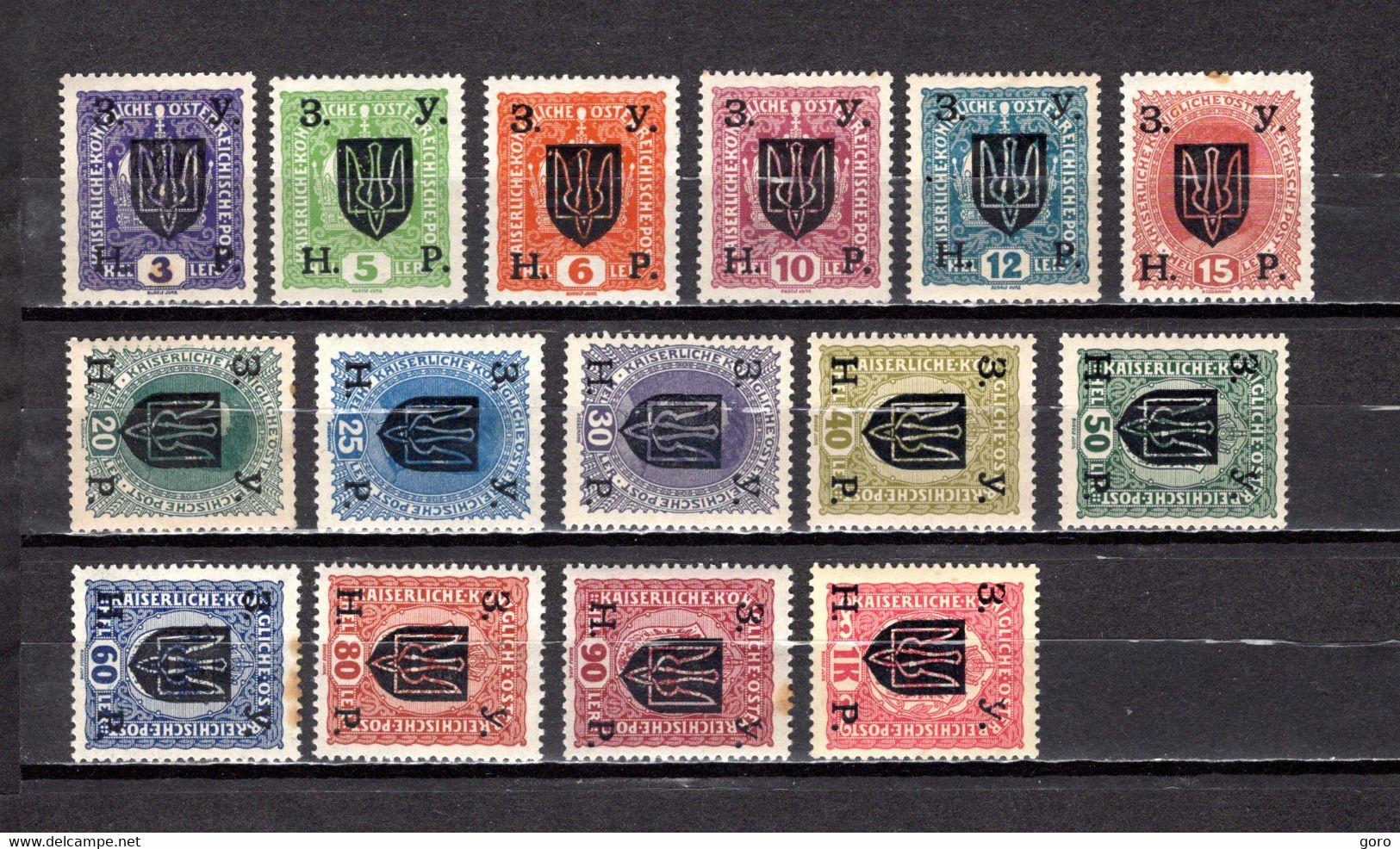 Ucrania   1919  .-   Y&T Nº   115/129    *   ( C/charniere ) - Oekraïne