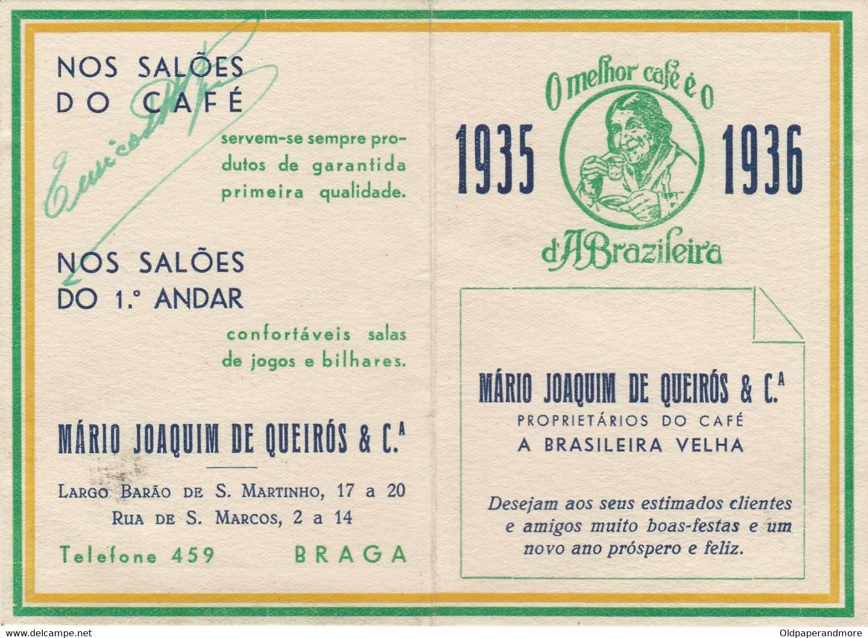 PORTUGAL BRAGA - CALENDAR POCKET 1936 . CAFÉ A BRASILEIRA VELHA - TIMETABLE TRAIN - BRAGA To PORTO - COFFEE ADVERTISING - Europa