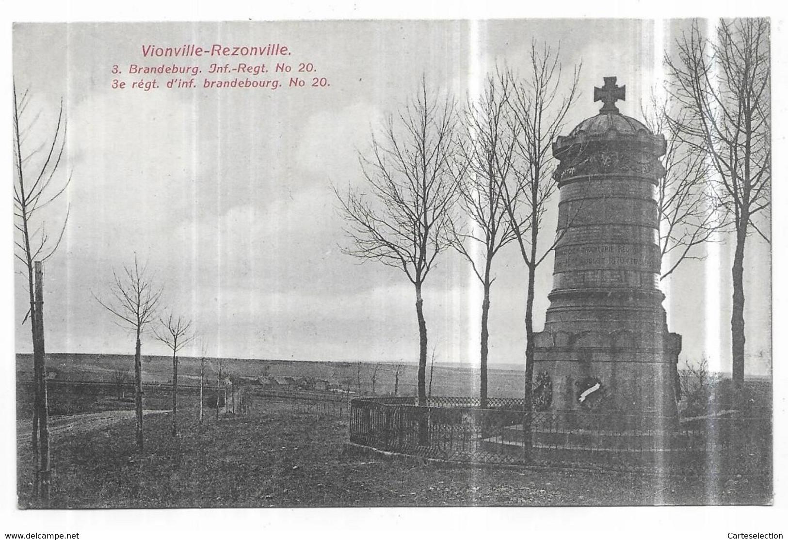 Vionville-Rezonville 3. Brandeburg. Inf.-Regt. N° 20 3e Régt. D' Inf. Brandebourg. N° 20. - Altri Comuni