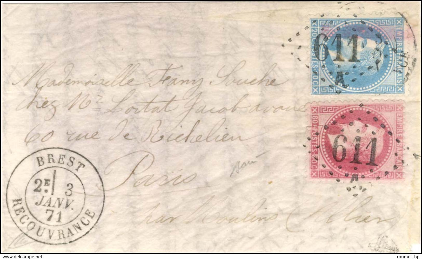 GC 611 / A / N° 29 + N° 32 Càd BREST / RECOUVRANCE 3 JANV. 71 Sur Boule De Moulins Sans Càd D'arrivée. Exceptionnel Cach - Guerra Del 1870