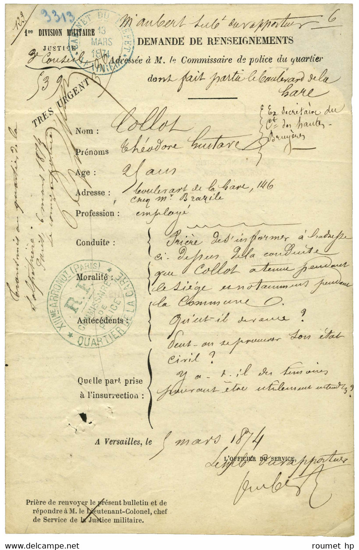 COMMUNE -/- COMMISSAIRE DE POLICE. - Handtekening