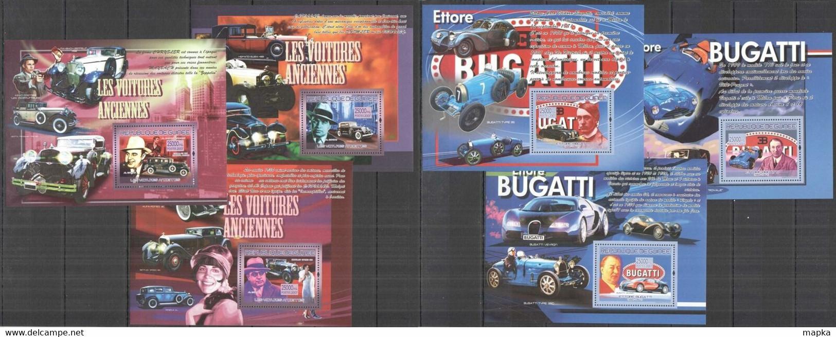 BC1395 2007 GUINEE GUINEA ANTIQUE AUTOMOBILES BUGATTI CARS HISTORY !!! 6BL MNH - Cars