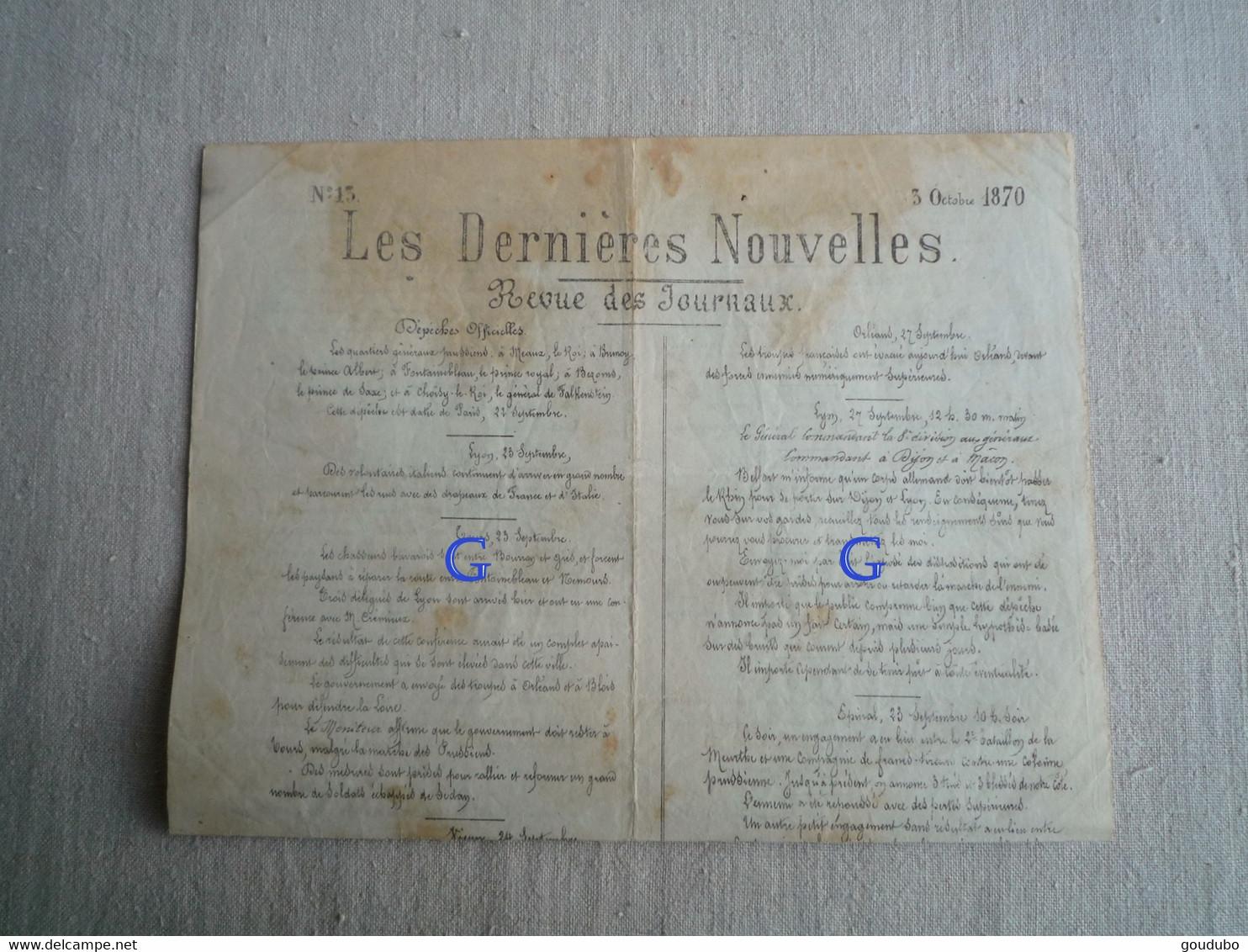 Les Dernières Nouvelles 1870 Censure Ballon Monté Amiral Roncière Isidore Cerf Très Rare. - 1850 - 1899