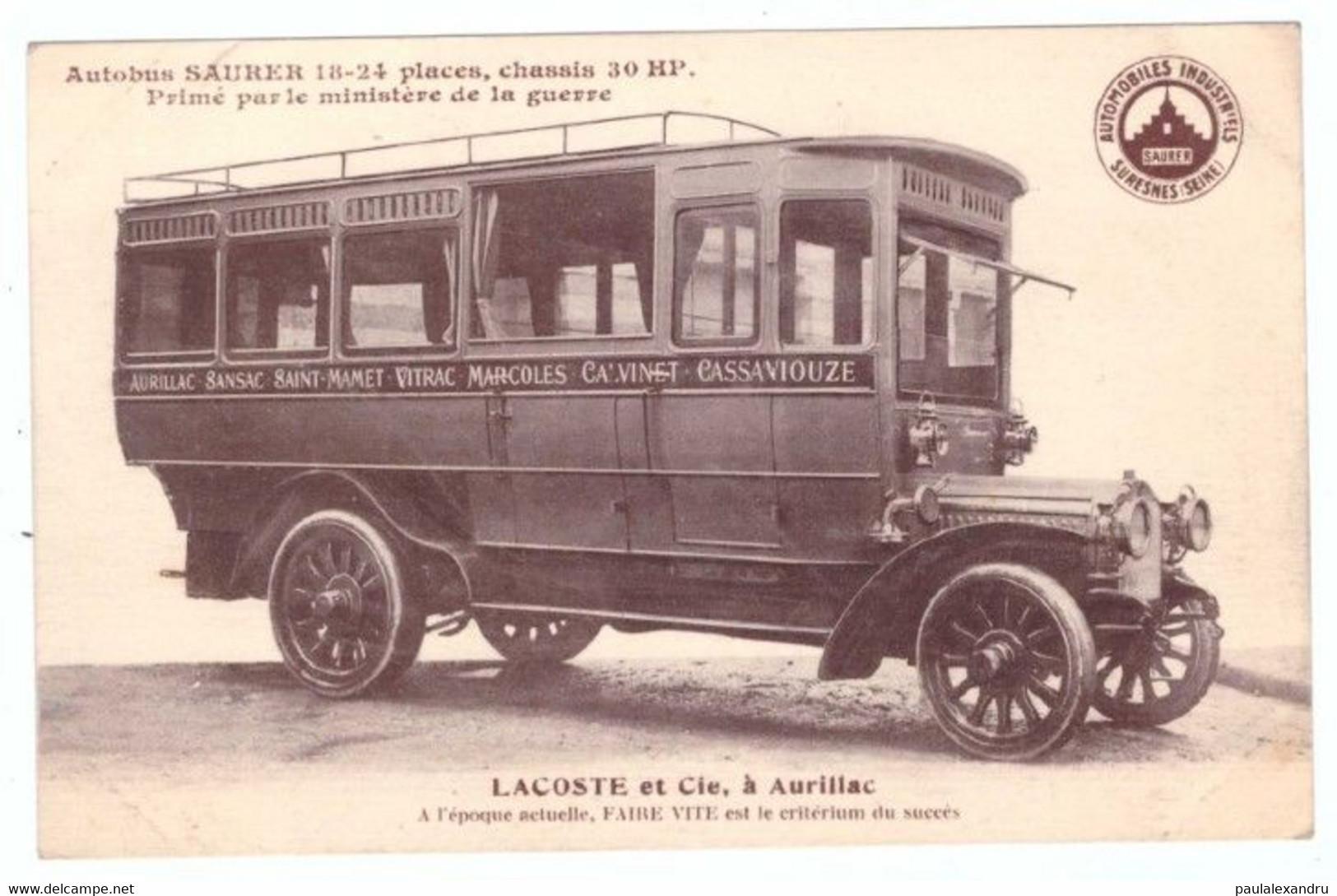 N2L10 France Autobus Saurer Lacoste Et Cie, A Aurillac - Sansac Saint Mamet Vitrac Marcoles Calvinet Cassaniouze - Otros