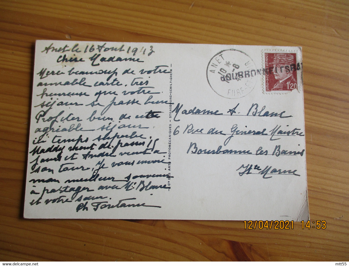 Bourbonne Les Bains Griffe Marque Lineaire Obliteration Fortune Lettre - 1921-1960: Moderne