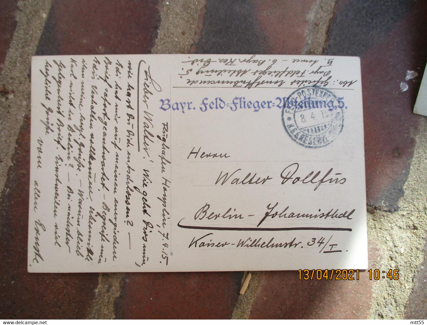 1915 Deutschland Carte Photo  Militaire Gare  Schleissheim Feldpost Bayr Feld Flieger Wbteilung 5 - Briefe U. Dokumente