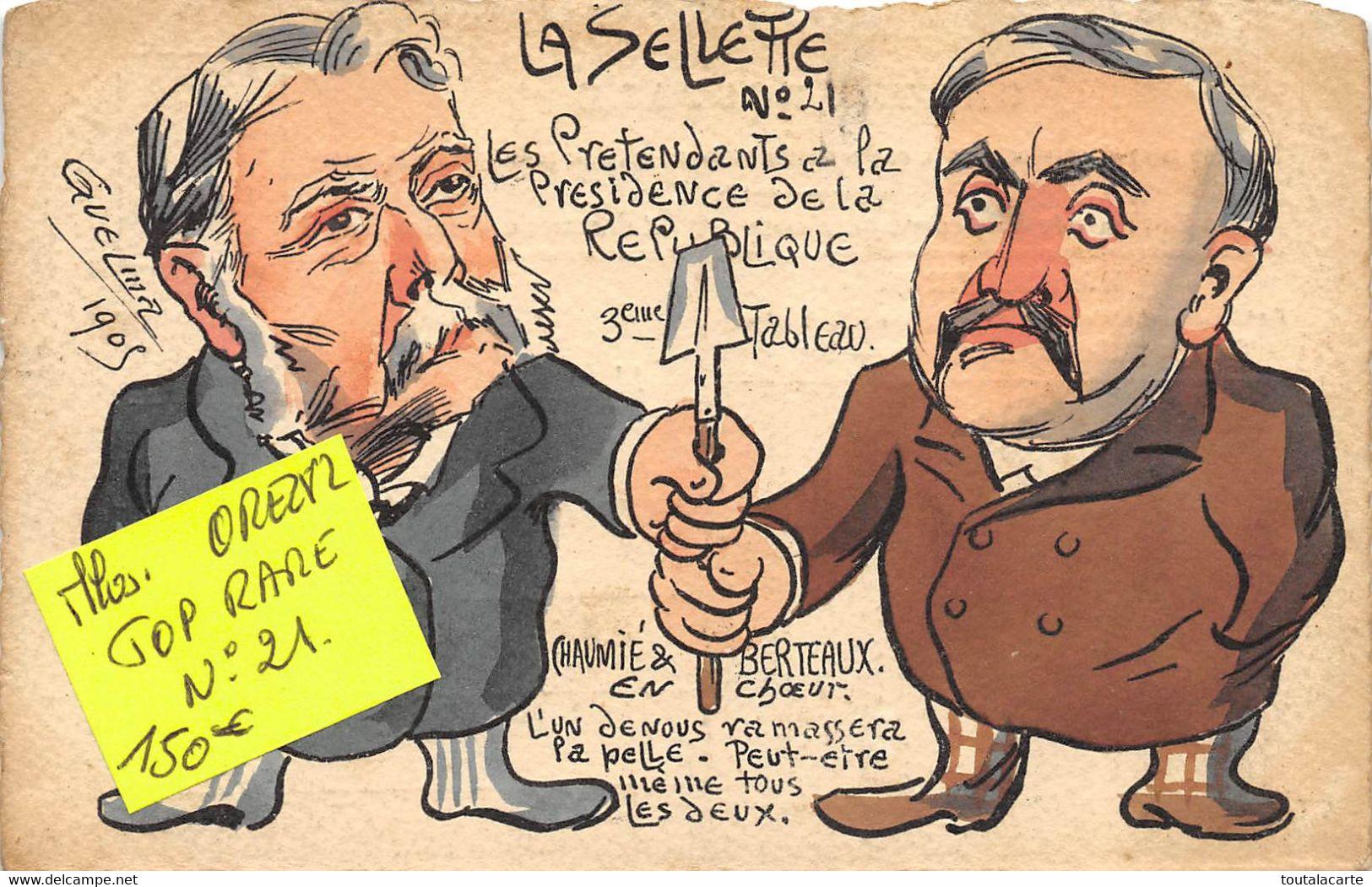 CPA ILLUSTRATEUR GUELMA  LA SELLETTE CARICATURE POLITIQUE CARTE A TIRAGE LIMITE   Rare - Other Illustrators