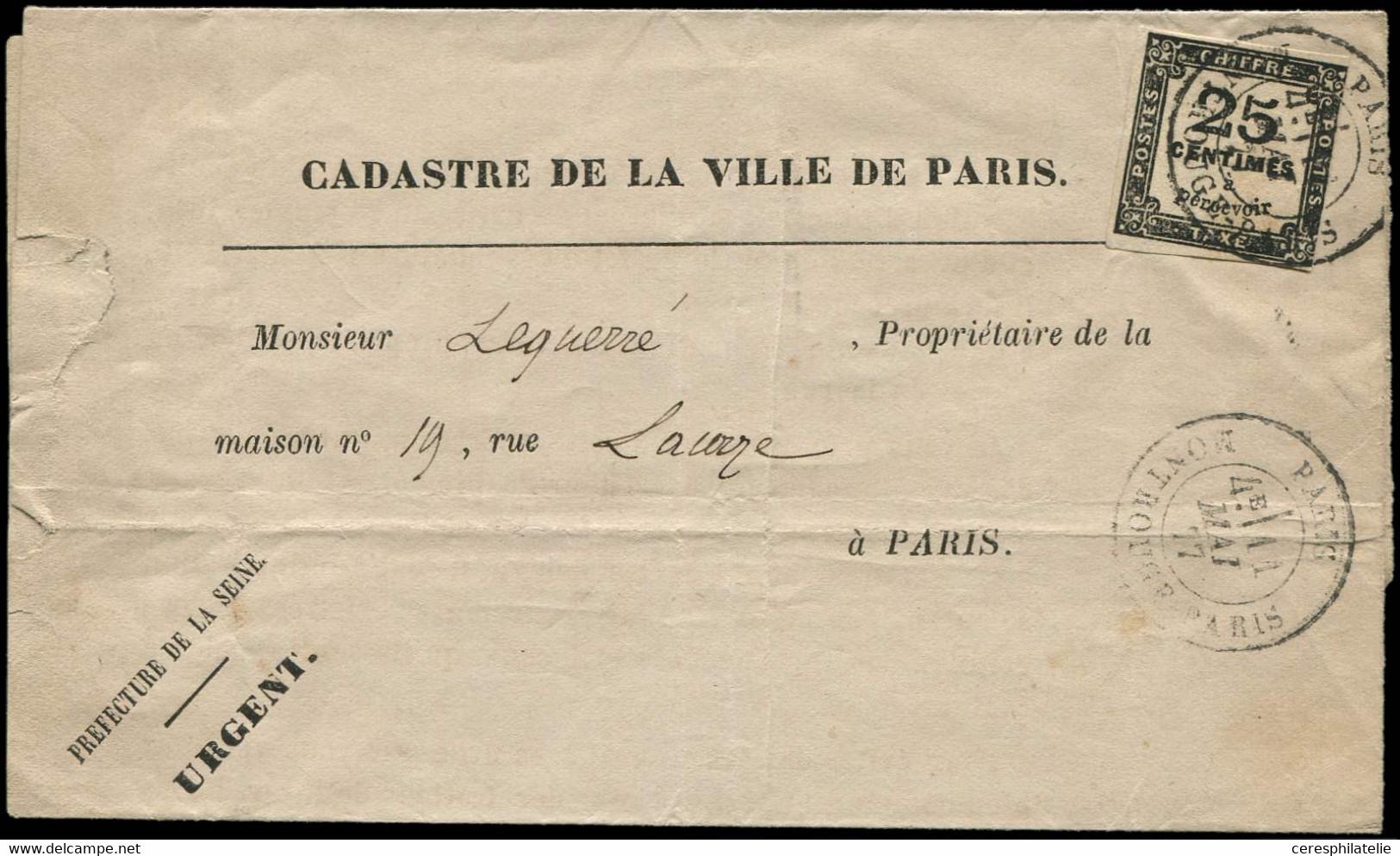 Let TAXE - 5A  25c. Noir T II Obl. Càd MONTROUGE PARIS 11/5/77 S. LSC Cadastre De La Ville De Paris, Pli Intra-muros, TB - 1859-1955 Storia Postale