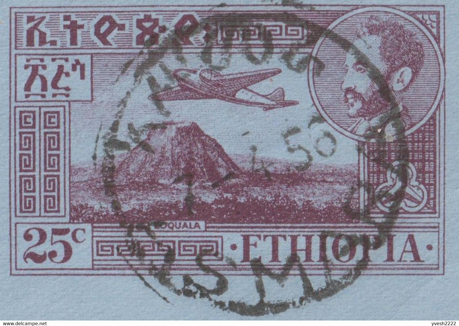 Éthiopie 1956. Aérogramme à 25 C, Asmara à Detroit. Taxé 21 C. Avion Et Volcan Zoqala (Erta Ale) - Volcanes