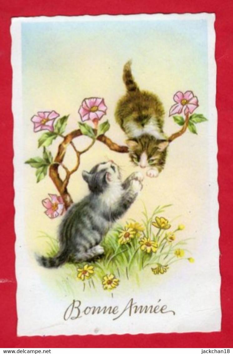 -- MIGNONETTE  - BONNE   ANNEE - DEUX CHATONS JOUANT SUR UNE BRANCHE FLEURIE -- - New Year