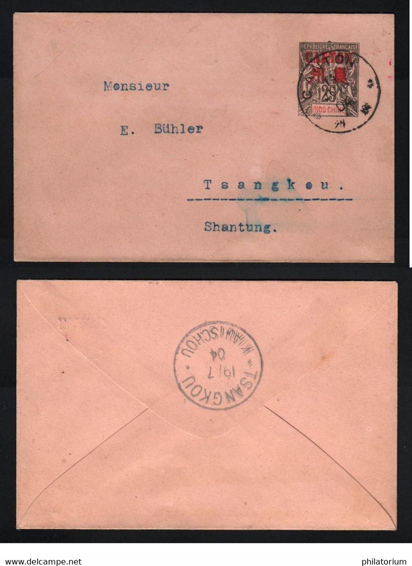 CANTON Chine 14 Juin 1904 Pour Tsanghou Enveloppe Entier-postal 25 Indo-Chine Surchargé Canton - Briefe U. Dokumente
