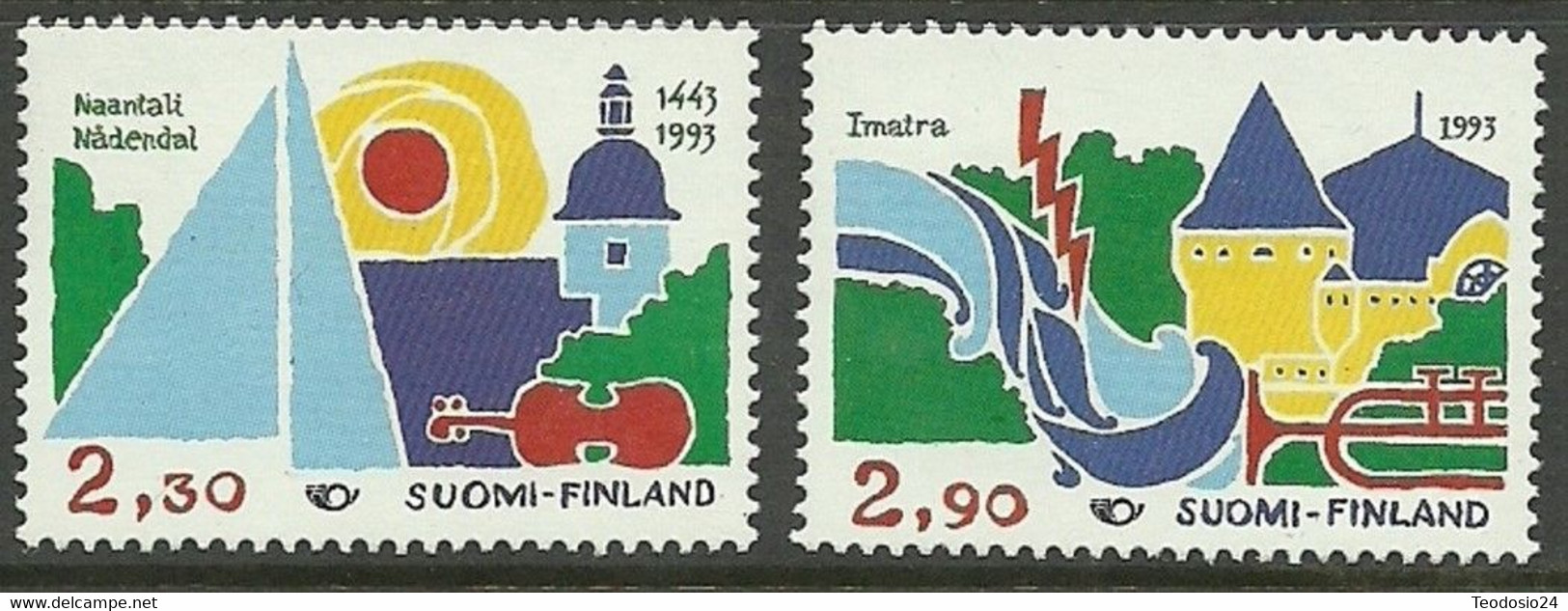 FINLANDIA 1993 Mi:FI 1210/11, Yt:FI 1176/77, AFA:FI 1199/00 ** MNH - Nuevos