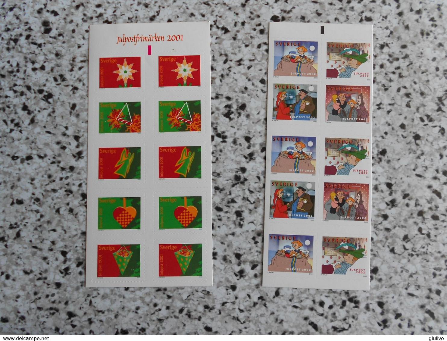 Svezia-Piccolo Lotto Di 2 Libretti Autoadesivi MNH A Tema Natale. Uno Del 2001 E Uno Del 2002. - Zonder Classificatie