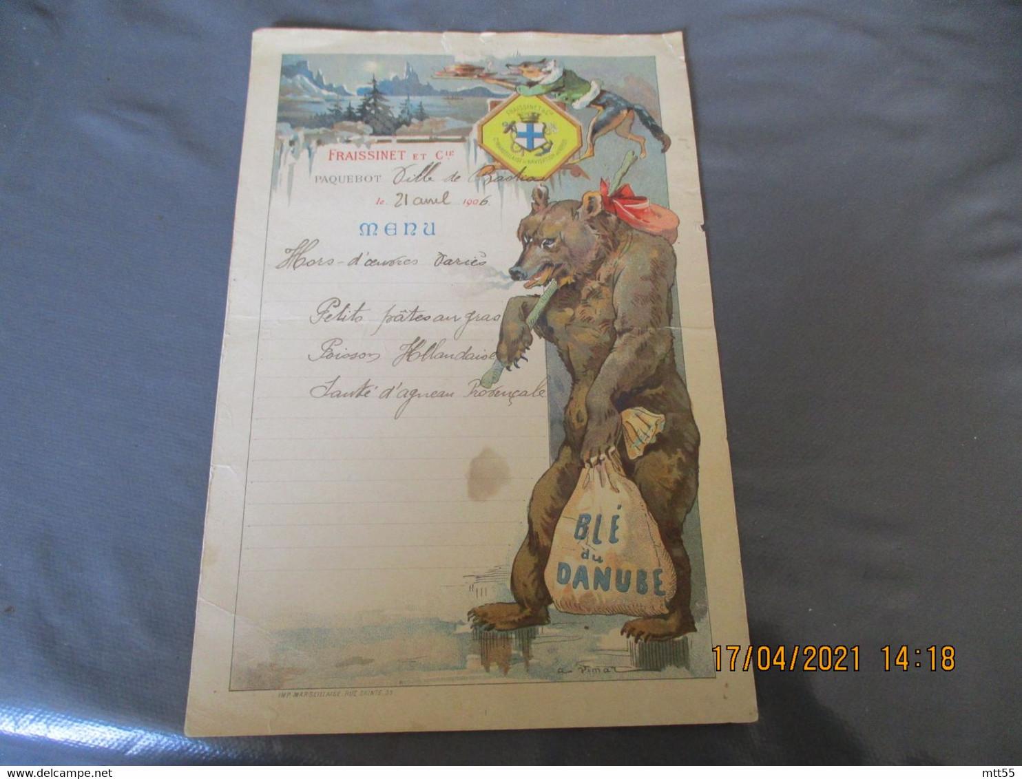 Menu Illustrateur Vemat 1906 Compagnie Fraissinet Marseille Bateau Ville De Bastia Ours Renard - Menus