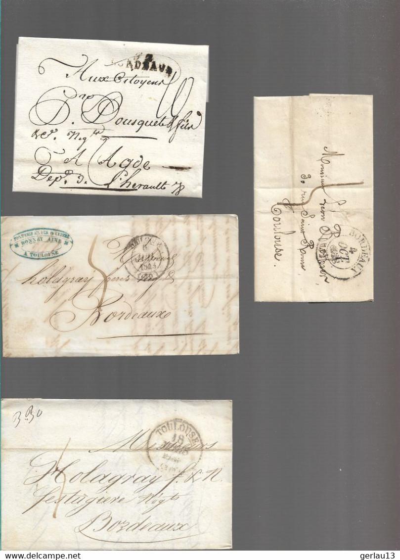 LOT    4  MARQUES POSTALES     2 SCANS - 1801-1848: Precursors XIX