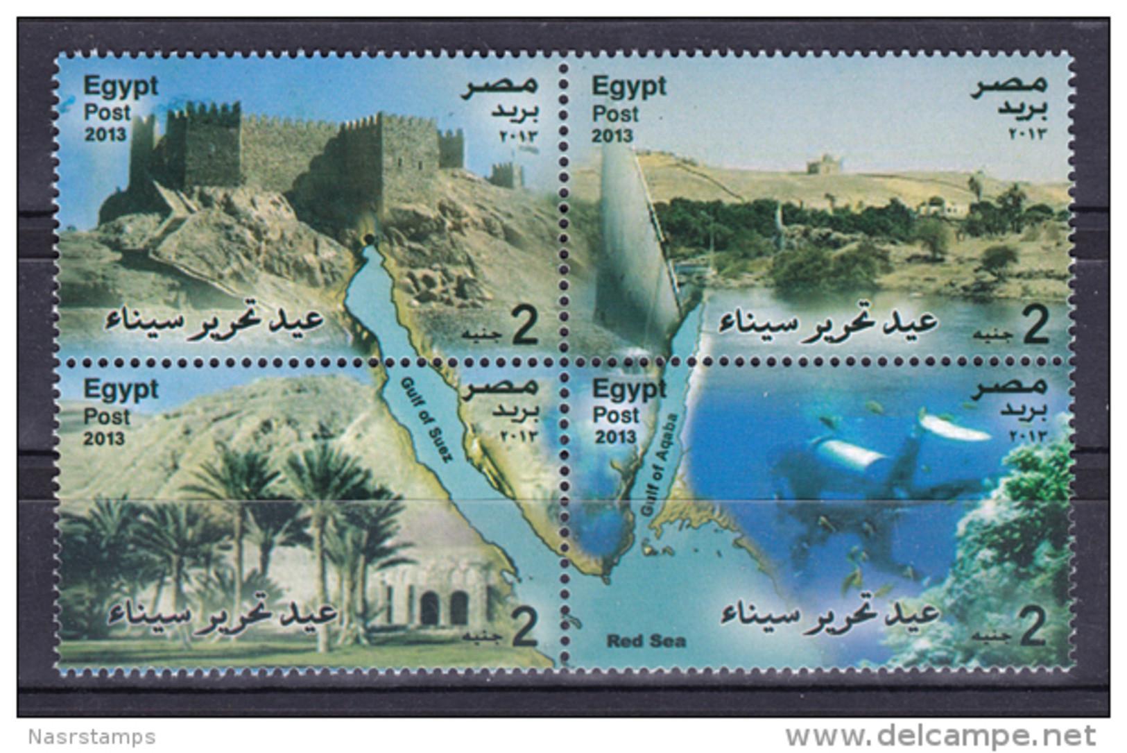 Egypt - 2013 - ( Return Of Sinai To Egypt - Landmarks Of Egypt ) - Block Of 4 - MNH (**) - Nuovi