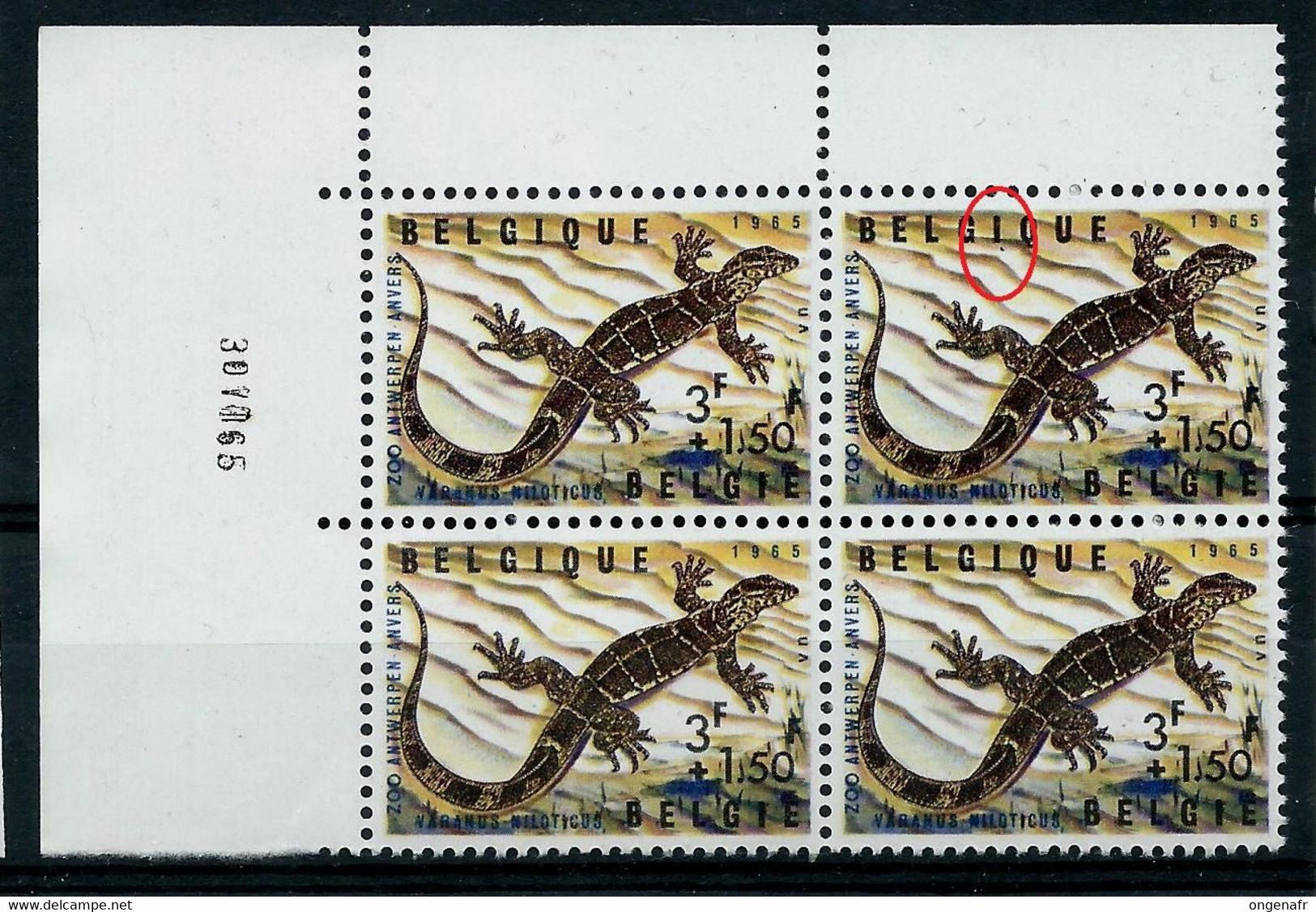 Bloc De 4 Cdf Datée ( 30 VII 65) N° 1346 V3 - Trait Sous I De Belgique - (état: **) - Plaatfouten (Catalogus OCB)