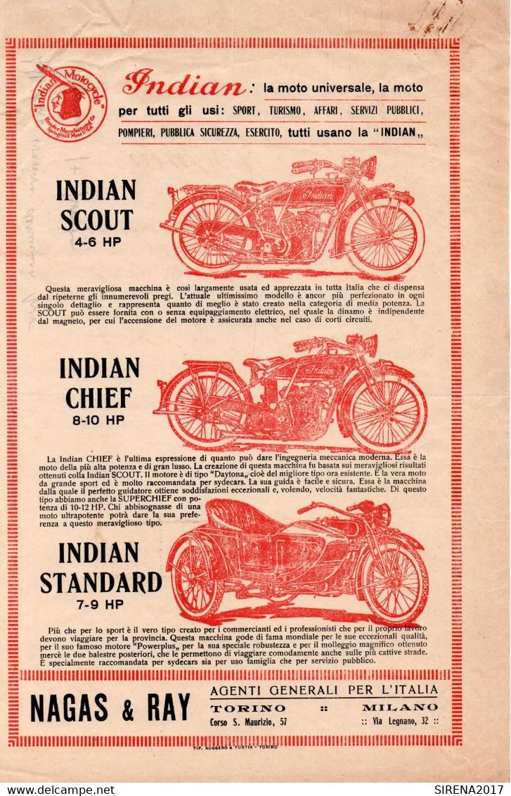 INDIAN MOTOCYCLE - NAGAS & RAY - TORINO MILANO - Publicités