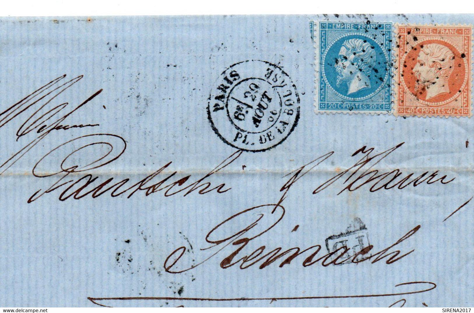 BUSTA AFFRANCATA FRANCOBOLLI FRANCIA STORIA POSTALE - 7 - 1849-1876: Klassik
