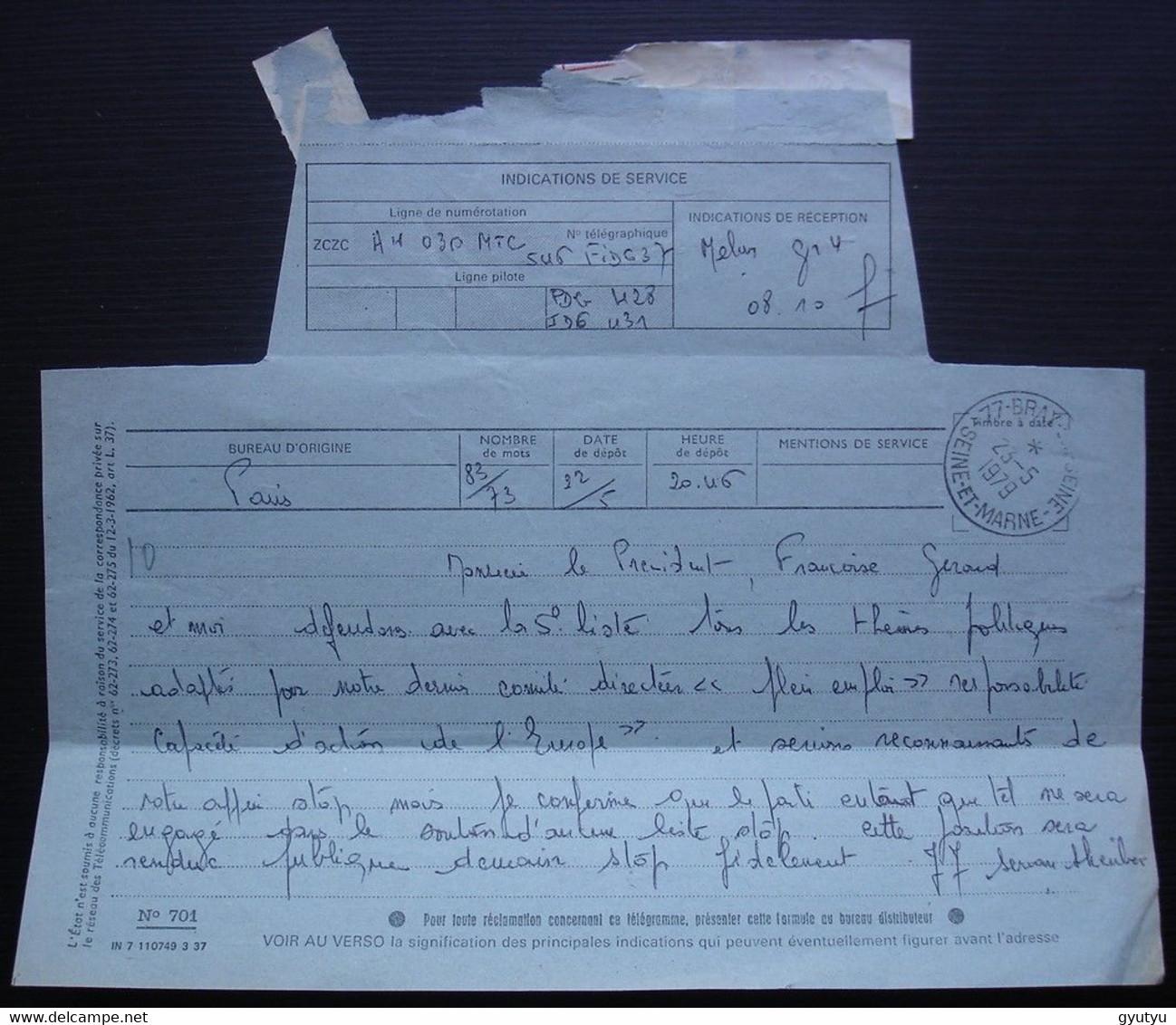 Servan Schreiber Jean-Jacques Télégramme De 1979 à Propos De Son Programme Avec Françoise Giroud (Parti Radical) - Historical Documents