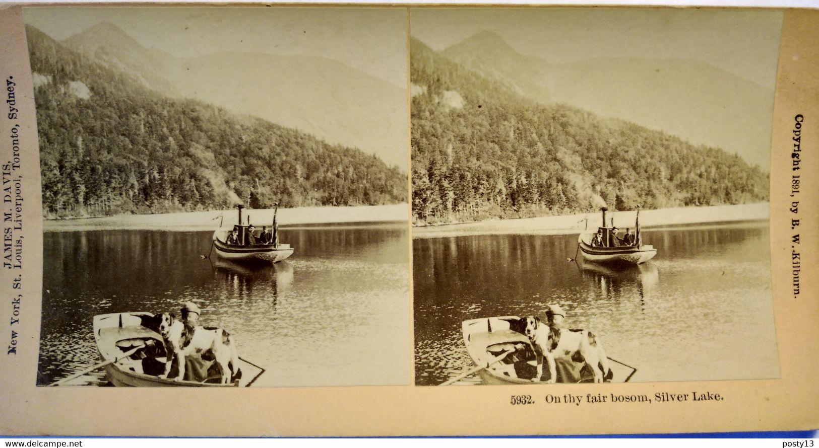 PHOTO STÉRÉO USA Fin XIX ème - Silver Lake - Bateaux - Chien - Photo James M. Davis - Stereo-Photographie