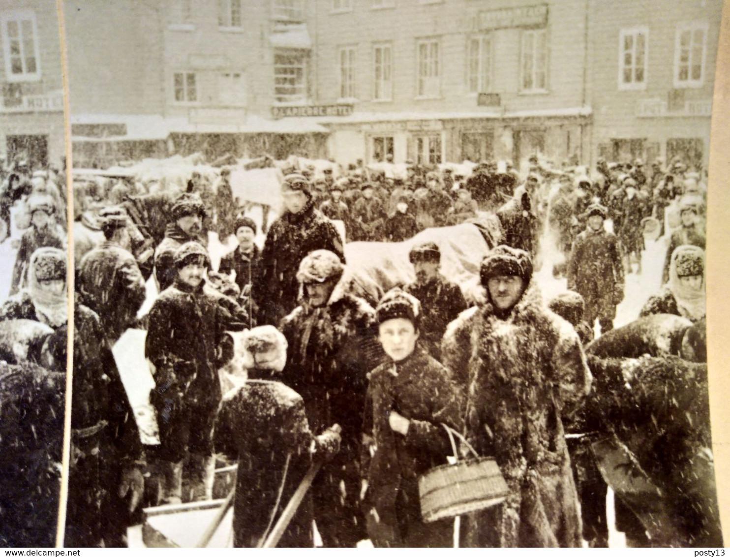 PHOTO STÉRÉO  CANADA - QUÉBEC - Grand Jour De Marché Sous La Neige - Superbe ! 1888 - TBE - Stereoscopio
