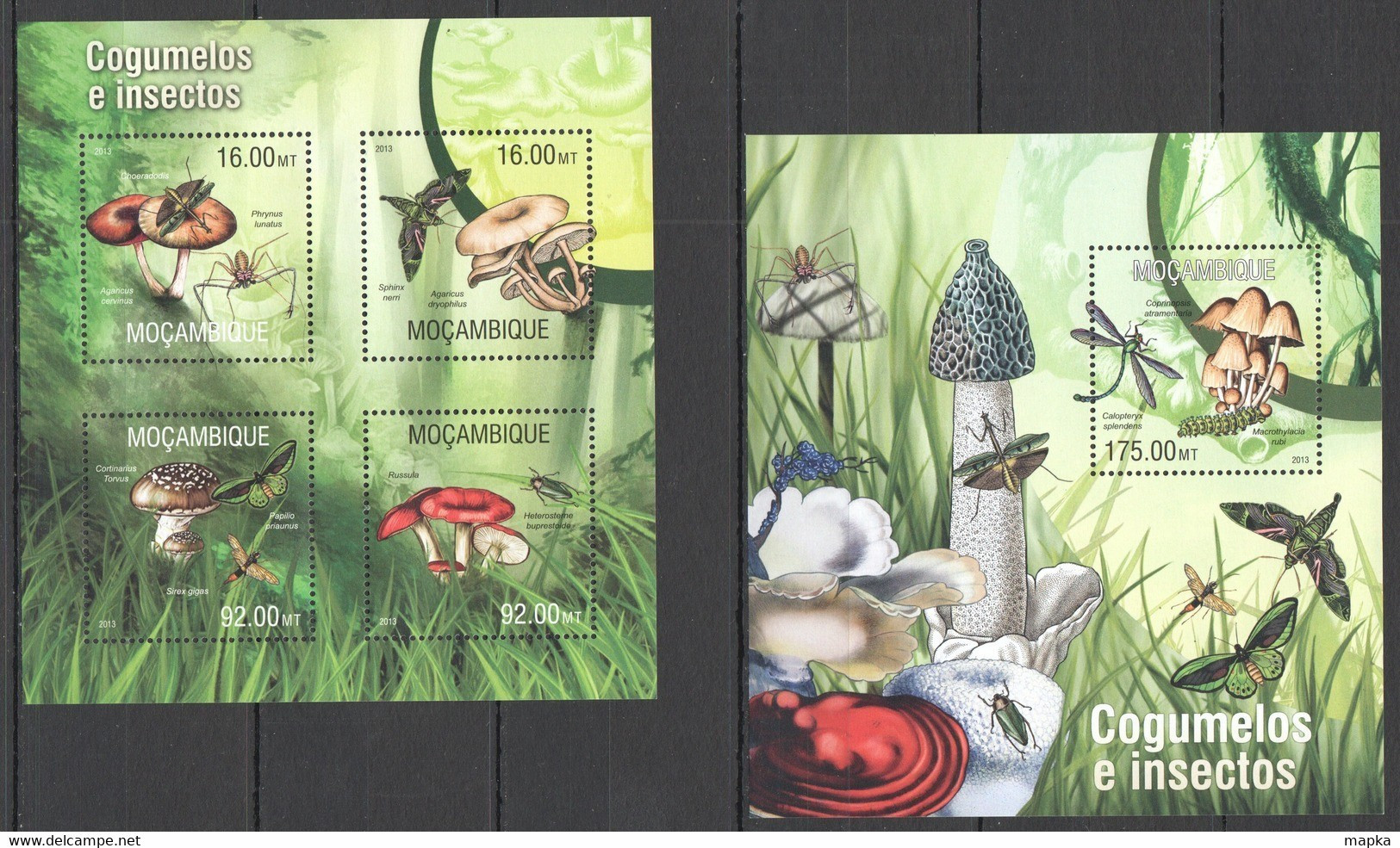 ST2559 2013 MOZAMBIQUE MOCAMBIQUE FLORA & FAUNA MUSHROOMS INSECTS & BUTTERFLIES KB+BL MNH - Otros