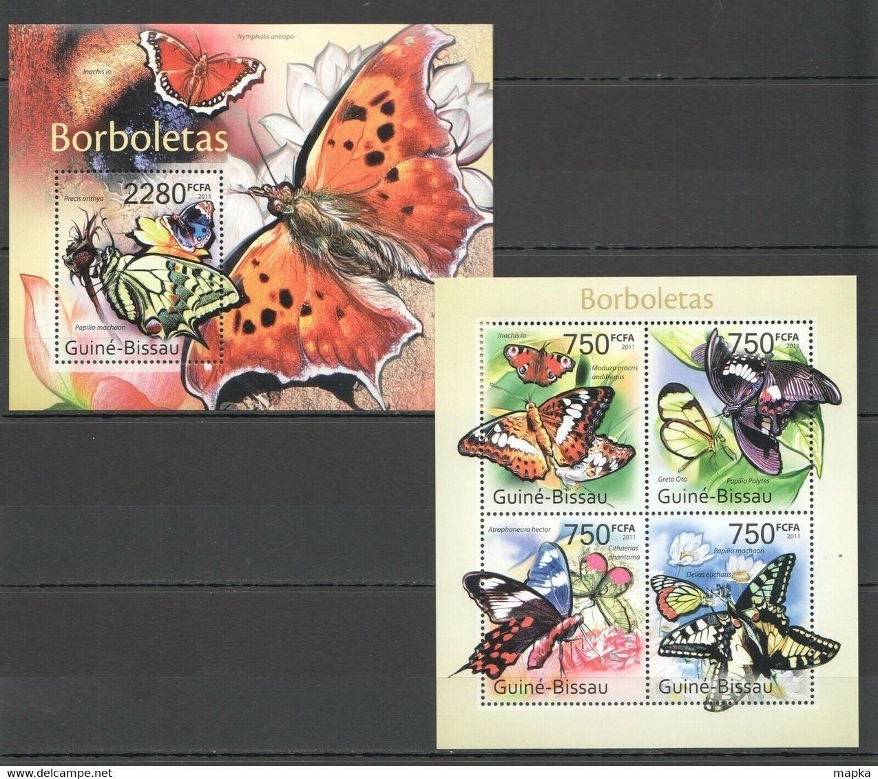 BC637 2011 GUINE GUINEA-BISSAU FLORA & FAUNA BUTTERFLIES BL+KB MNH - Butterflies