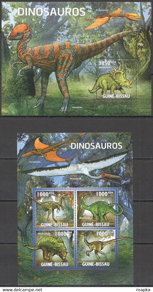BC607 2011 GUINE GUINEA-BISSAU FAUNA PREHISTORIC ANIMALS DINOSAURS DINOSAUROS KB+BL MNH - Prehistóricos