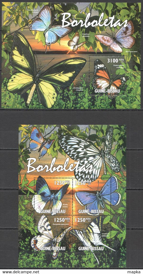 BC608 2011 GUINE GUINEA-BISSAU FLORA & FAUNA BUTTERFLIES BORBOLETAS KB+BL MNH - Vlinders