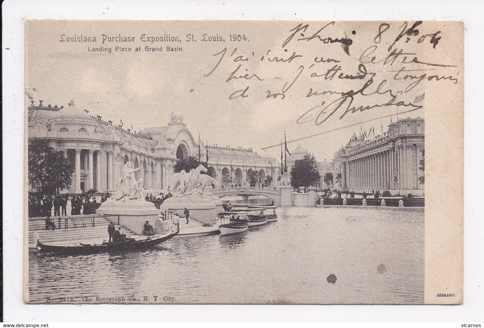 CP ETATS UNIS LOUISIANA Purchase Exposition St Louis 1904 Landing Place At Grand Basin - Other
