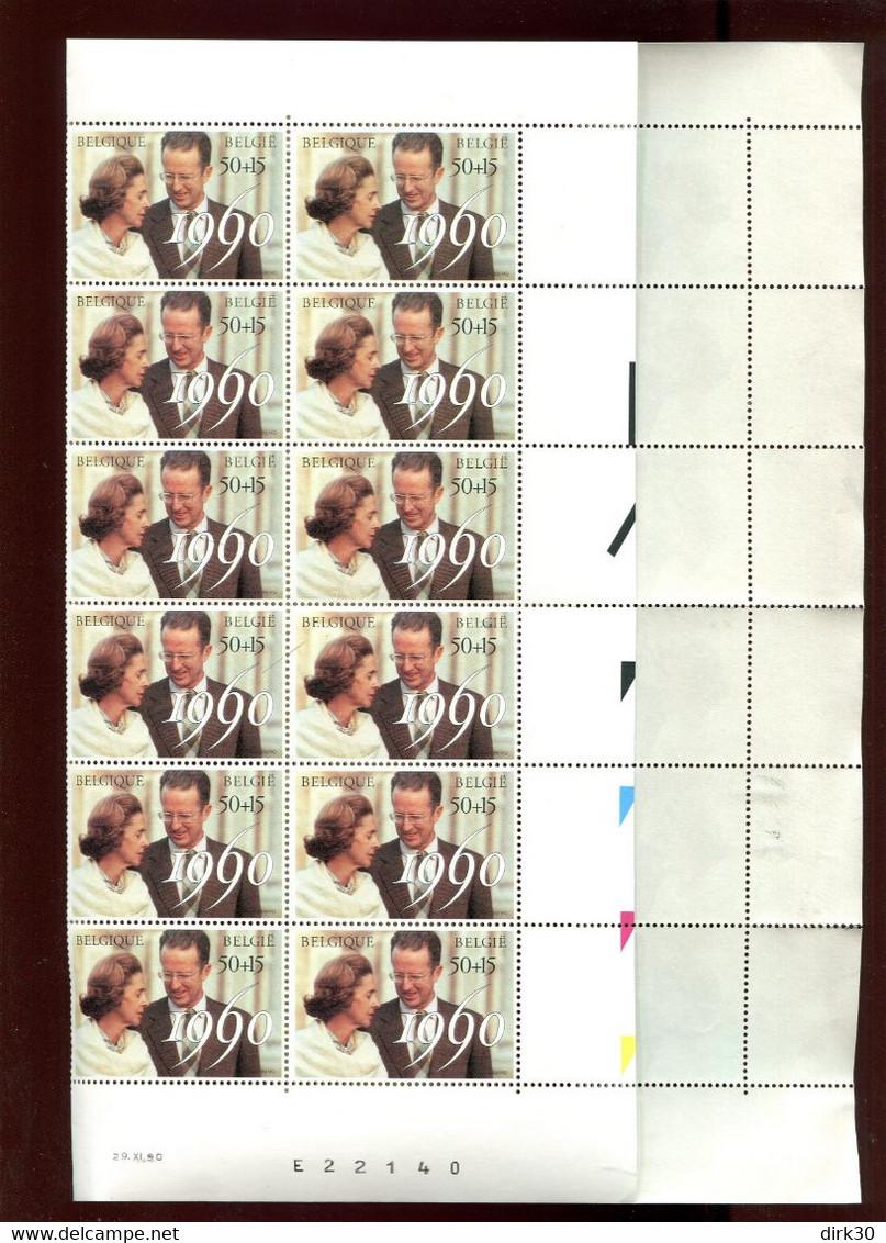 Belgie 1990 2396 MONARCHIE FABIOLA BOUDEWIJN FULL SHEET MNH Plaatnummer 00 - Volledige Vellen