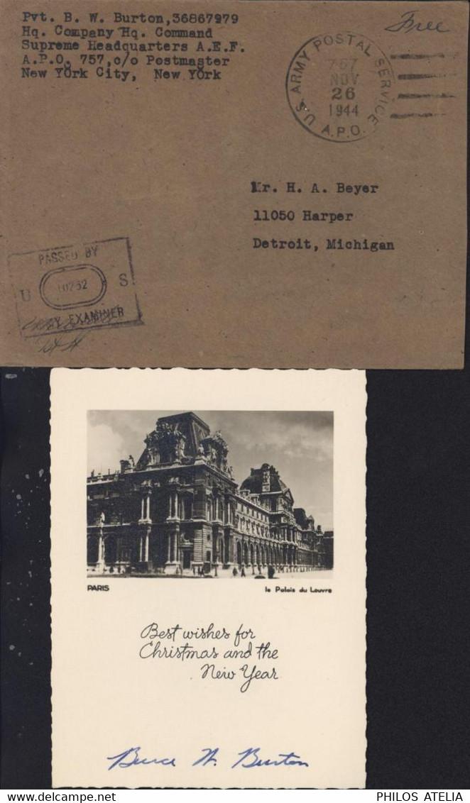 Guerre 40 U.S. ARMY POSTAL SERVICE APO 767 NOV 26 1944 Versailles Censure US Army Examiner CPA Paris Palais Louvre - WW II