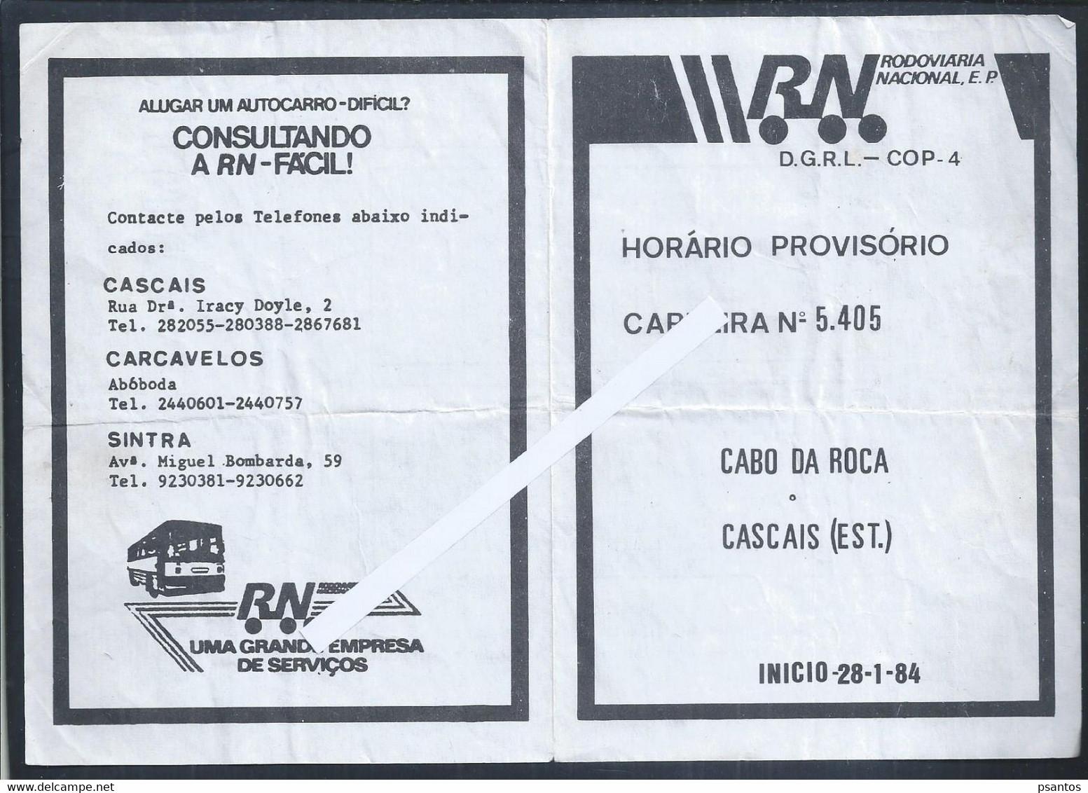 Horário Da Rodoviária Nacional De Cascais/Cabo Da Roca.Schedule Of The Cascais National Bus Station To Cabo Da Roca. - Europe