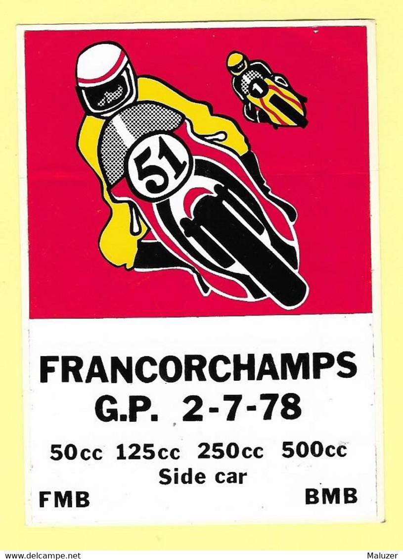 AUTOCOLLANT STICKER - FRANCORCHAMPS GRAND PRIX  2 JUILLET 1978  - MOTO SIDE-CAR - SPORT - BELGIQUE - Stickers