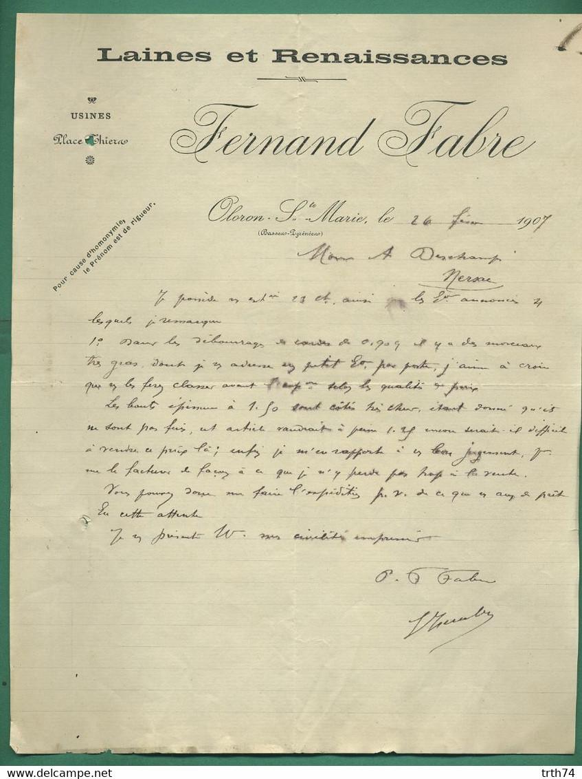 64 Oloron Sainte Marie Fernand Fabre Laines Et Renaissances 26 Février 1907 - Textile & Clothing