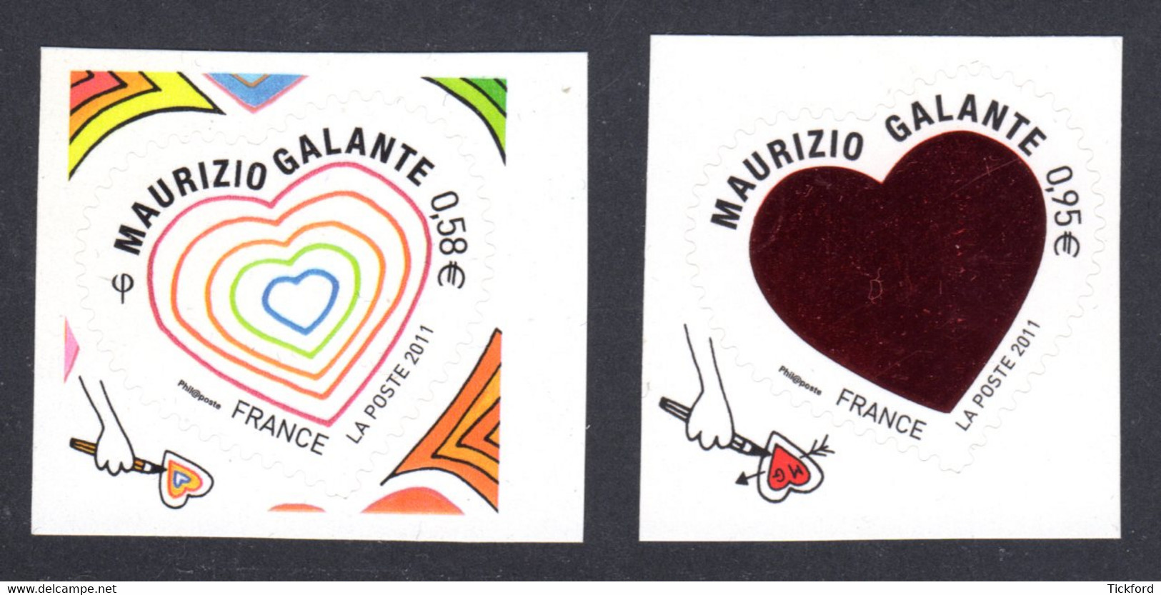 FRANCE 2011 - Autoadhésifs Yvert N° 510/511 NEUFS, Saint-Valentin, Coeurs Maurizio Galante - Luchtpost