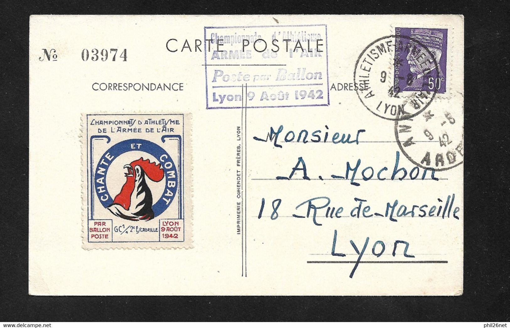 Carte Illustrée Par Ballon Monté Lyon Le 9/8/1942 N° 509 Cachet Et Vignette Championnat D'Athlétisme Armée De L 'air TB - Air Post