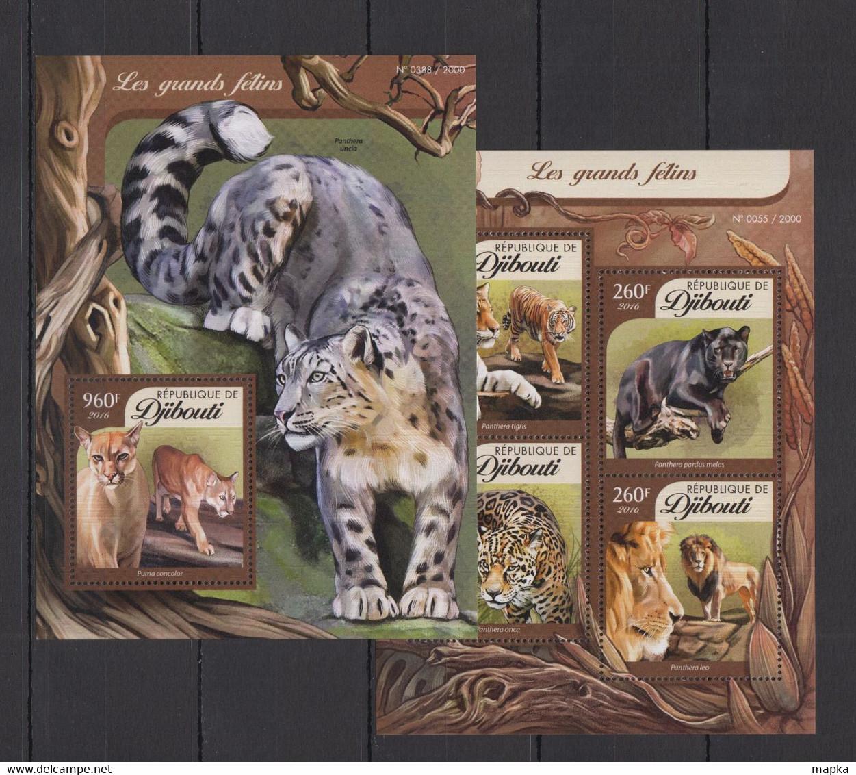 XX469 LAST ONE IN STOCK 2016 DJIBOUTI FAUNA ANIMALS WILD CATS LIONS TIGERS GRANDS FELINS KB+BL MNH - Felinos
