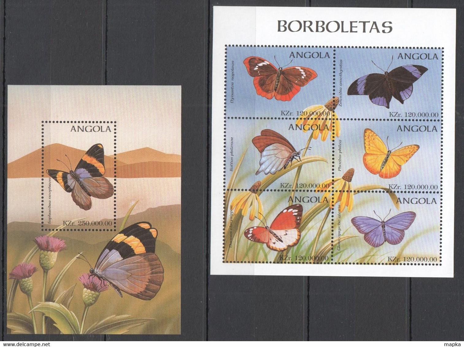 VV862 ANGOLA FLORA & FAUNA FLOWERS BUTTERFLIES 1BL+1KB MNH - Mariposas
