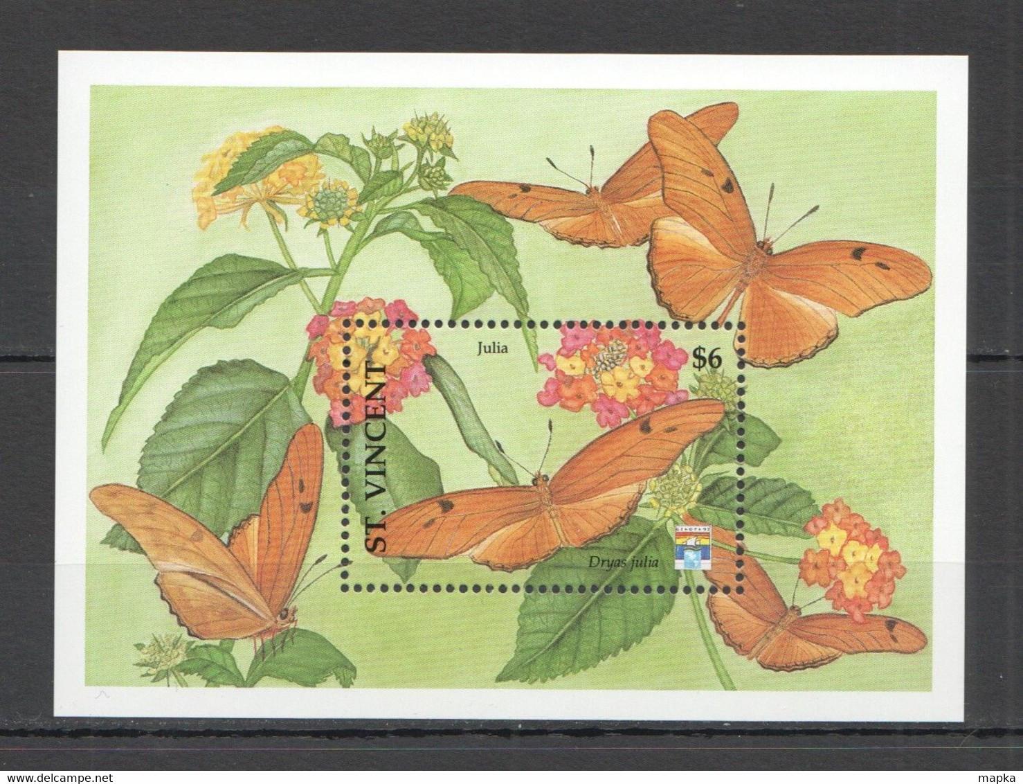 WW928 ST. VINCENT BUTTERFLIES & FLOWERS FLORA & FAUNA BL MNH - Mariposas