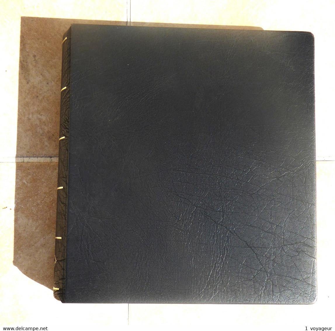 Classeur YVERT + étui - Reliure à Vis + 26 Feuilles 6 Bandes (52 Pages) Fond Noir - Intercalaires Rodhoïd - Bon état. - Large Format, Black Pages
