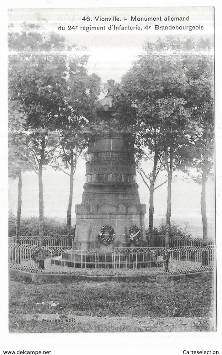 Vionville Monument Du 24e Régimeny D' Infanterie, 4e Brandebourgeois Rameau édit. - Other Municipalities
